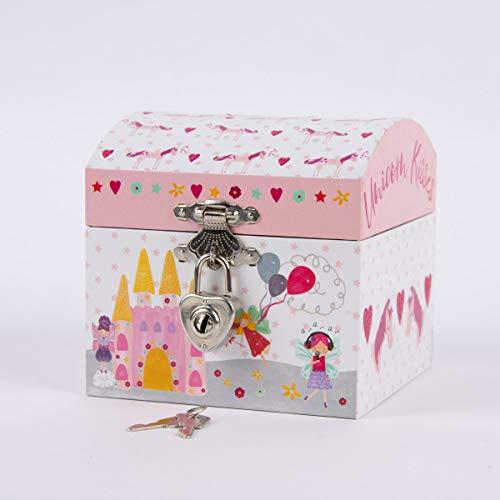 SCHÖNER LEBEN. Floss & Rock Spardose Einhorn und Feen rosa weiß bunt 10,5x10,5x10,5cm