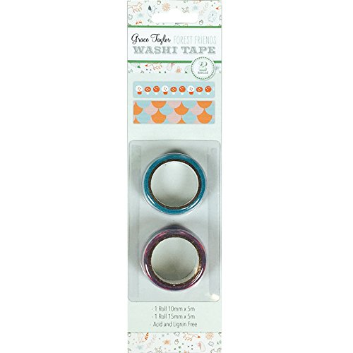 Grace Taylor 15x 10x 3cm Forest Friends Washi Tape, Confezione da 2, Multicolore