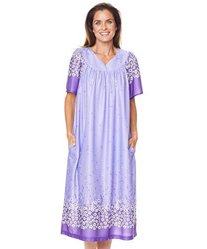 AmeriMark Lounger House Dress with Pockets for Women Muu Muu Nightgown Lilac Floral Border 1X