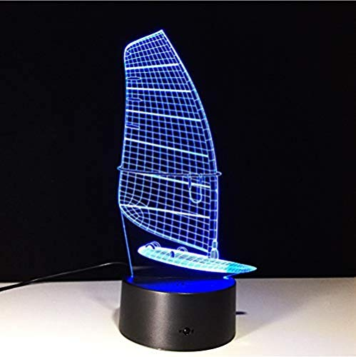 Holidays Birthday Gifts for Kids Children Boys Ship Sailing Boat 3D nightlight Touch 16 Color Change