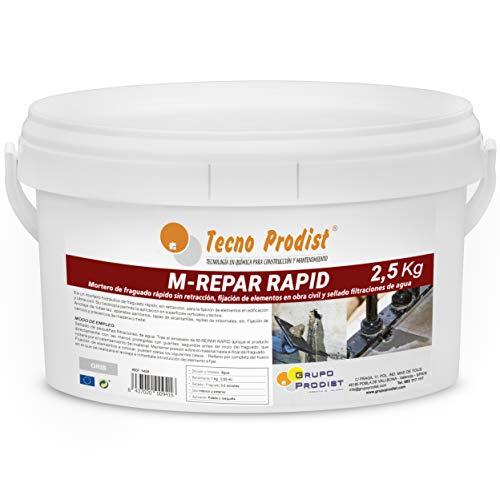 M-REPAR RAPID de Tecno Prodist - (2,5 kg) Mortero de fraguado rápido sin retracción, fijación de elementos en obra civil y sellado de filtraciones de agua. Color Gris
