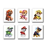 """HB-101 Cartoons Paw Patrol Puppy Art Painting Set of 6 (8""""X10""""Canvas Picture) Used for Nursery Wall Poster Kids Boys Birthday Gift Game Room Decor Frameless"""