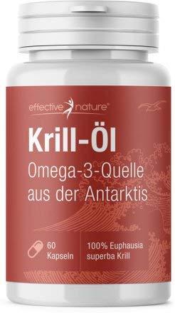 effective nature - Krill Öl Kapseln - 60 Kapseln - Sehr Hoher Anteil an Omega 3 Fettsäuren