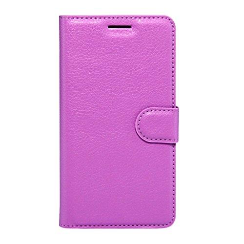 RONGCHAO Tasche für Mobiltelefon Für Wiko K Kool und Jerry Litchi Texture Horizontal Flip Leder Tasche mit Magnetschnalle und Kartenhalter und Kartenhalter (Schwarz) Shell Cover (Farbe : Lila)