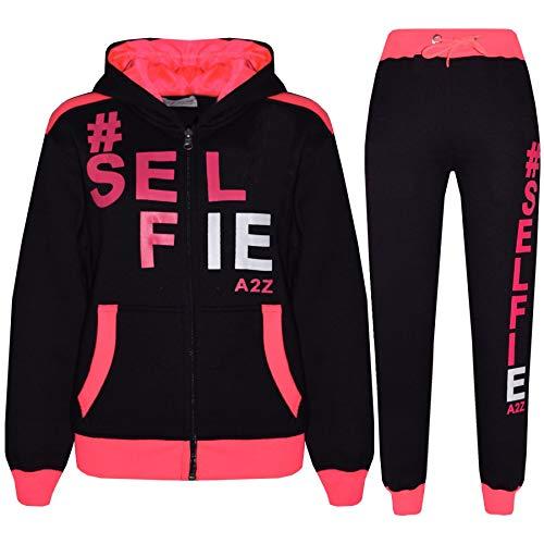 A2Z 4 Kids® Kinder Mädchen Jungen #Selfie - T.S Selfie 01 Black & Neon Pink 7-8