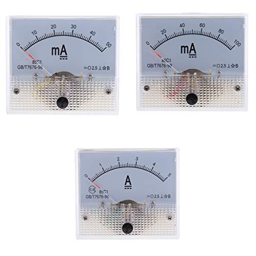 Medidor De Amplificador Analógico De CC De 3 Piezas Amperímetro Del Panel De Corriente Medidor De Amperios Clase De Precisión Medidor De 2.5 Amperios