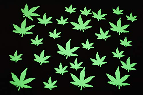 50 Piece Glow in The Dark Marijuana Weed Pot Leafs Luminous Wall Ceiling Decor Party Supply Sturdy Plastic with Adhesive