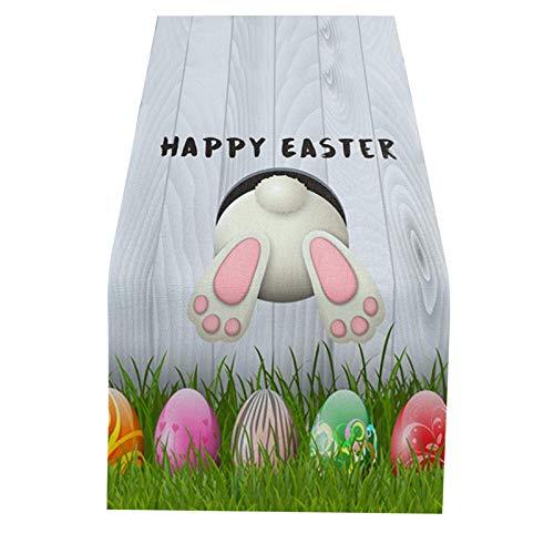 Dorical Easter Tischläufer Gnomes Osterei Hasen Ohren Tischdecke Esszimmer Küche Rechteckiger Dekorativer Oster Tisch-Deko Ostereier Bedruckt Oster-Deko für Innen- und Außenpartys