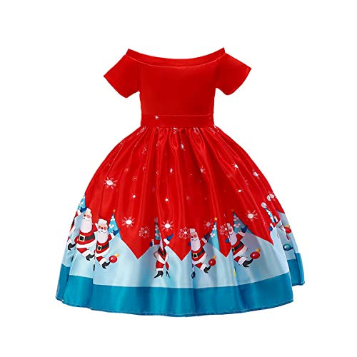 Amosfun Christmas Girls Dress Princess Printed Full Dress Christmas Kids Outfit Festive Party Short Sleeve Costume (Size 130cm, Red)