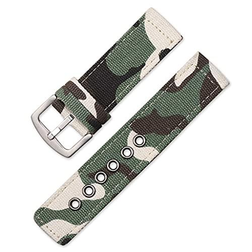 SSMDYLYM Correa de Lona Militar de Camuflaje, Bandas de Reloj, Mujeres, Hombres, Negro, Verde, Deporte, Relojes, Accesorios (Color : Green, Size : 18mm)
