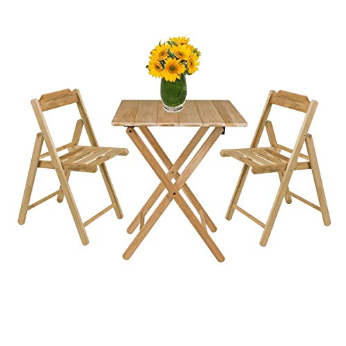 Tramontina Wooden Teak Outdoor Folding Bistro Set Table and 2 Chairs Set | Honey Coloured Dining Patio Set