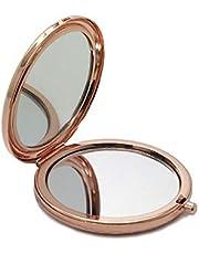PLXX Mini LED Plegable Espejo de Maquillaje portátil LED Espejo de luz Luz de Maquillaje Compacto de Bolsillo Espejo de luz Led Maquillaje Señora, Oro
