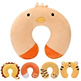 H HOMEWINS Travell Pillow for Kids Toddlers - Soft Neck Head Chin Support Pillow,Cute Animal,Comfortable in Any Sitting Position for Airplane,Car,Train,Machine Washable,Children Gifts (Chicken)