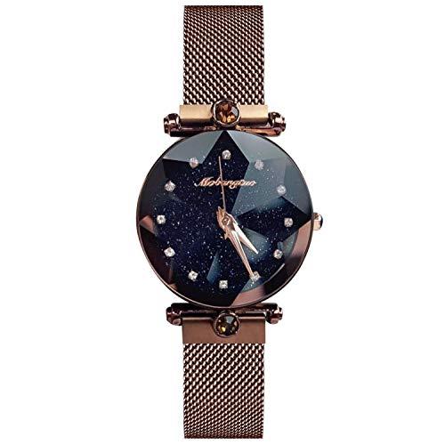 RORIOS Mujer Relojes de Pulsera Brillante Cielo Estrellado Mesh Bracelet Band Diamante Simulado Dial Relojes de Mujer Women Watches