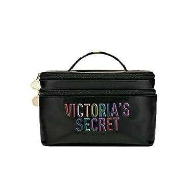 Victoria's Secret The Train Cosmetic Case Duo Beauty Makeup Bag Black Rainbow