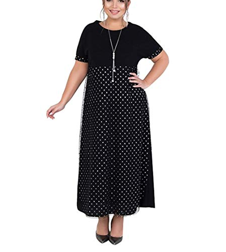 Adelina Elegante zomerjurk met net-garen, oversized modieuze jurk met korte mouwen, modieuze complete, O-hals, polkadots, casual, lange partyjurk, zomer