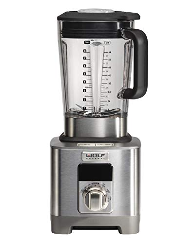 Wolf Gourmet High-Performance Blender, 64 oz Jar, 4 Program Settings, 12.5 AMPS, Blends Food, Shakes and Smoothies, Silver Knob with Black Knob Accessory, Stainless Steel (WGBL120SR)