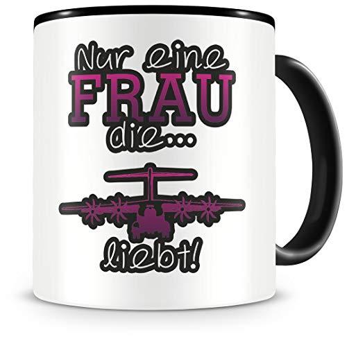 Samunshi® Flugzeug Tasse mit Spruch Flugzeug Liebe Geschenk für Flugzeug Fans Kaffeetasse groß Lustige Tassen zum Geburtstag schwarz 300ml