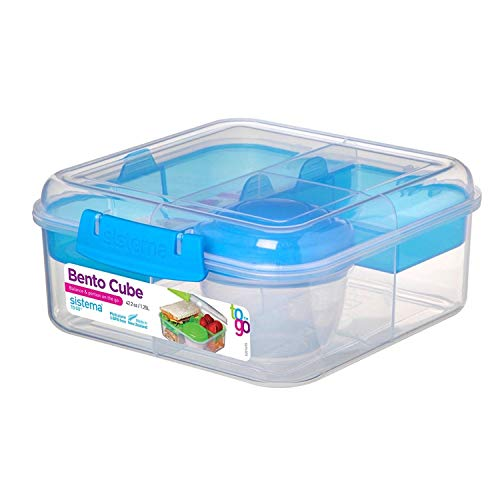Sistema Bento Cube Box To Go mit Fruit/Joghurt Topf, 1,25 Liter (zufällige Farbauswahl)
