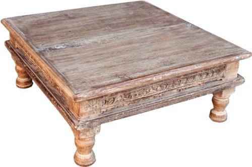 Guru-Shop Kleiner Tisch, Blumenbank, Kaffeetisch, Beistelltisch, Couchtisch - Modell 4, Weiß, 18x43x43 cm, Kaffeetische & Bodentische