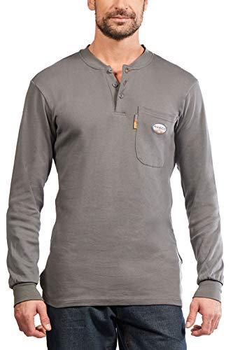Rasco FR Gray Henley T-Shirt 100% Preshrunk Cotton NFPA 2112, Small