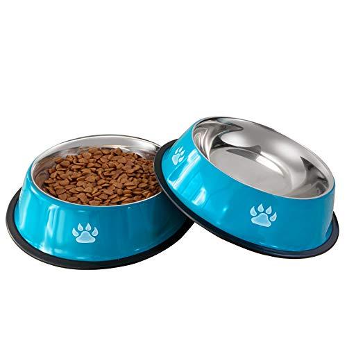 VIBOOS Hundenapf, 2 Stück Edelstahl Hundenapf, rutschfeste Hundenäpfe für Futter oder Wasser, Perfekte Haustier Futternapf für Mittelgroße und Große Hunde (Blau)