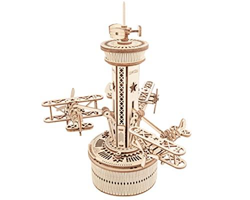 Robotime Mechanische 3D Puzzle Spieluhr Flugkontrollturm mit Flugzeug Modellbausatz aus Holz für Kinder über 14 Jahre und Erwachsene
