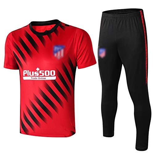 PUS 19-20 Atletico Madrid Internacional City Football Training Anzug, kurzärmelige Sportbekleidung Trainingsanzug Set, Outdoor Sports Herren Kurzgezeichnete Sportbekleid red-S