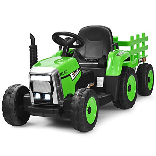 Costzon 12V Kids Ride On Tractor with Trailer, Battery Powered Electric Vehicle Toy Car with 2.4G Remote Control, 3-Gear-Shift Ground Loader Ride On with LED Lights, USB (Green)
