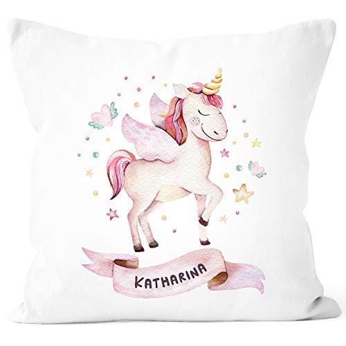 SpecialMe® Kissen-Bezug Einhorn mit Namen Kissen-Hülle Namenskissen Baumwolle personalisierte Geschenke Dekokissen weiß Unisize