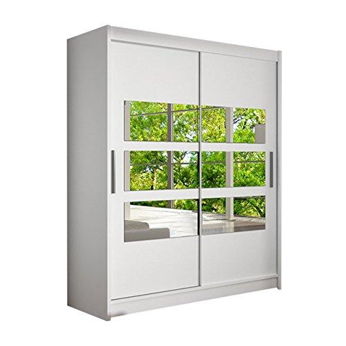 Schwebetürenschrank Westa VII Kleiderschrank mit Spiegel, Modernes Schlafzimmerschrank, Schiebetürenschrank, Garderobe, Schlafzimmer (Weiß)