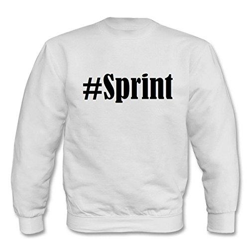 Reifen-Markt Sudadera Hashtag #Sprint para mujer, hombre y niños en los colores negro, blanco y azul con impresión Blanco 08Mujer Medium
