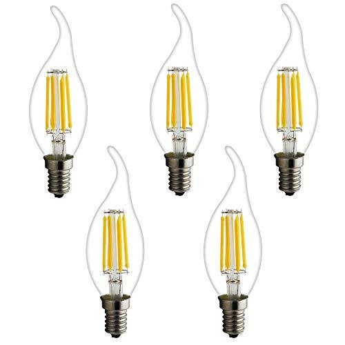 1 pak E14 vintage LED gloeilampen kaars 6 W warm wit 2700 K C35 staart voor retro oude kroonluchter hanger lamp