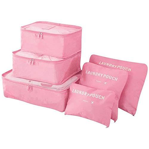 Vicloon 6 en 1 Set de Organizador de Equipaje,Impermeable Organizador de Maleta Bolsa Viaje con Bolsa de Zapato (Rosa)