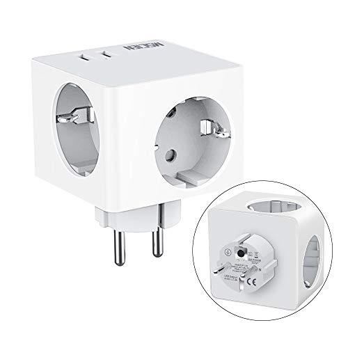 USB Steckdose,3 Steckdosen(3680W) mit 2 USB Anschluss (2.4A), Mscien 5-in-1 Steckdosenadapter Tragbare Würfel Steckdose für Haushaltsgerät, iPhone, Smartphone, Mp3 usw-Weiß