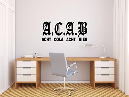 Comedy Wall Art A.C.A.B - ACHT COLA ACHT Bier - Schwarz - ca. 35 x 15 cm