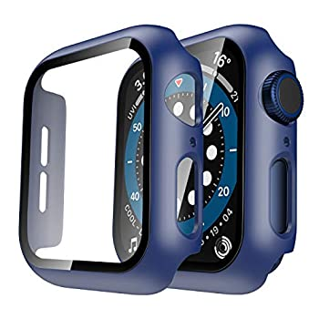 Tauri 2 Pack Hard Case Compatible for Apple Watch SE Series 6 5 4 44mm Built in 9H Tempered Glass Screen Protector Slim Bumper Touch Sensitive Full Protective Cover Compatible for iWatch 44mm - Blue