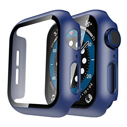 TAURI 2Pack Funda para Apple Watch 44mm Serie 6 5 4 SE Estuche Rígido Delgado para PC Protector de Pantalla de Vidrio Templado Incorporado Cubierta Protectora General paraI Watch 44 mm-Azul