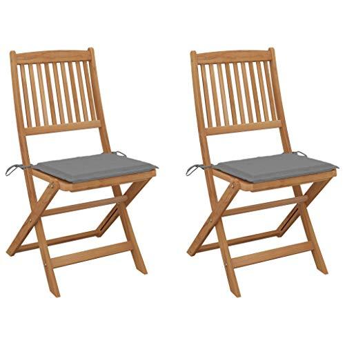 vidaXL 2X Akazienholz Massiv Gartenstuhl Klappbar mit Kissen ohne Armlehnen Klappstuhl Stuhl Stühle Gartenstühle Essstuhl Holzstuhl Gartenmöbel