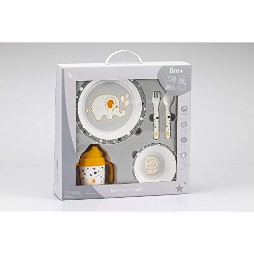Vajilla Bebé 5 Piezas Apta para microondas + regalo de un babero (Gris Jungla)
