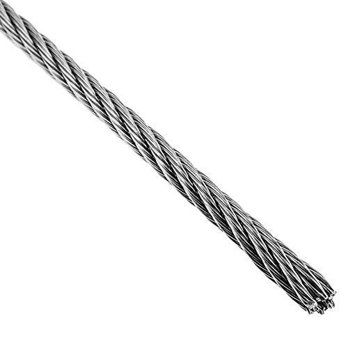 BeMatik - Cable de Acero Inoxidable de 4,0 mm en Bobina de 100 m