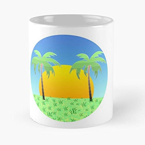 Island Palm Cuba Summer Vacation Sea Holiday Vibes Eat Food Bite John Best - Taza de café de cerámica Blanca, 11 onzas, Onza