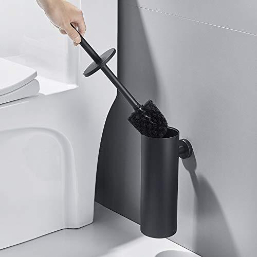 Auralum Brosse WC et Support Murale Brosse de Toilette Imperméable en Acier Inoxydable Balayette WC Ensemble avec Extra Long Poignée Brosse Toilette WC Suspendu Noir