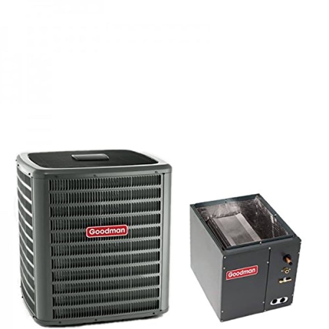 2.5 Ton Goodman 14 SEER R410A Air Conditioner Condenser with 14' Wide Vertical Cased Evaporator Coil (Yes, please add a TXV to my order)