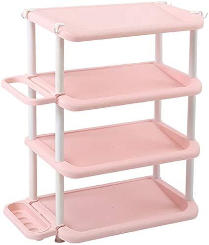 Wddwarmhome Estante de almacenamiento de zapatos de 4 niveles, organizador de estantes ajustables, para puerta, entrada, pasillo, 47,5 x 31,5 x 66 cm, ahorro de espacio (color rosa).