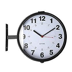 Wall Clock Hanging Clock Simple Metal Small Double-Sided Nordic Living Room Clock Cool Black Metal Silent Clock 33.528cm PENGJIE
