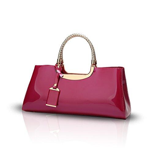 Tisdaini® Damenhandtaschen Mode Schultertaschen Lackleder Shopper Umhängetaschen Rose rot