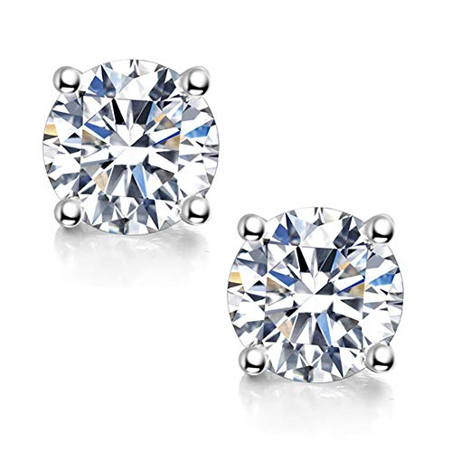 Moissanite Stud Earrings, 0.6ct 4mm DF Color Brilliant Round Cut Lab Created Diamond Earrings 18K White Gold Plated Brass Friction Back for Women Men
