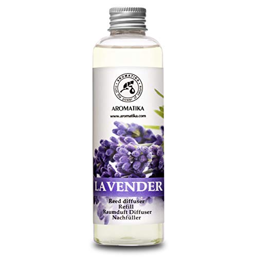 Recarga Difusor con Aceite Esencial de Lavanda 200ml - Natural para Cuartos - Hogares - Oficinas - Restaurantes - Aromaterapia - 0% Alcohol - Aceite Esencial de Lavanda