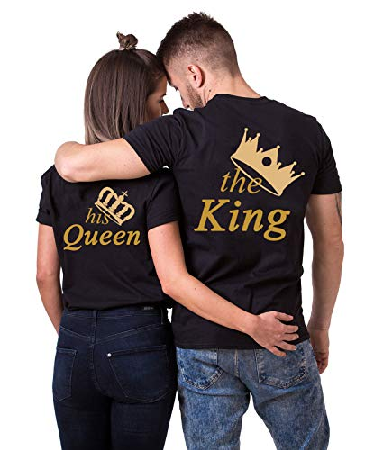 Daisy for U Conjunto de Camisa de Pareja King Queen, Partido de Vestido de Pareja, Tops de Regalo de Camiseta Velentidays, Traje de algodón de 1 Pieza